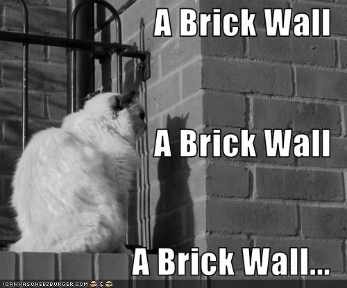 Facing a false brick wall